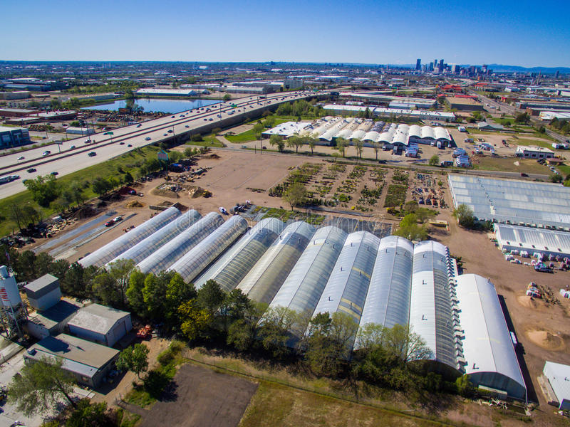 Greenhouses in Denver Colorado stock images