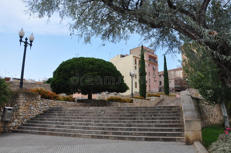 Greening of streets. In Tarragona, Spain royalty free stock photography