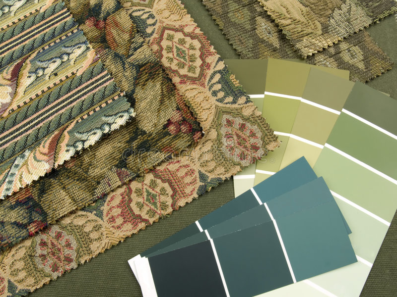 Greenish blue interior design plan. Teal and green paint color swatches, fabric samples royalty free stock image