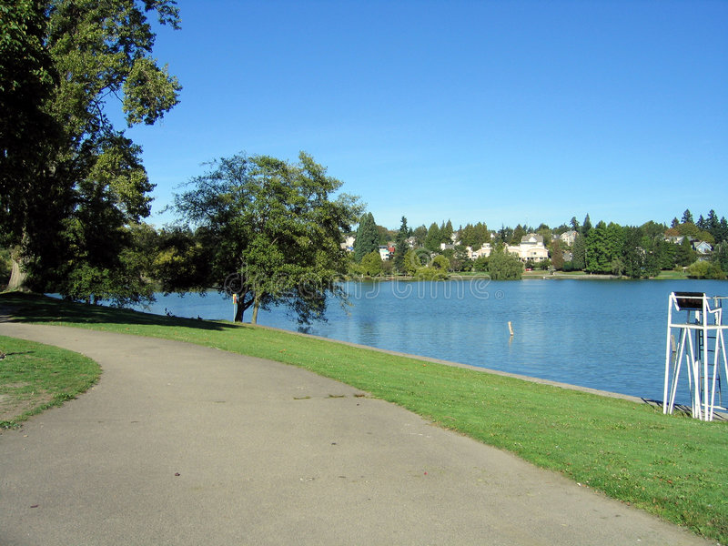 Greenlake path. Running path at Greenlake in Seattle royalty free stock photography