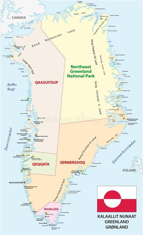 Greenland Administrative Map Stock Illustration Illustration of