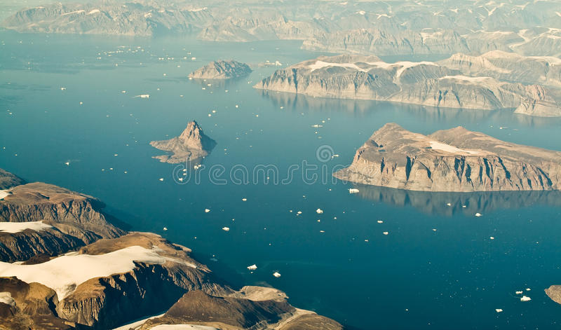 Greenland aerial landscape. An aerial view of Greenland stock image