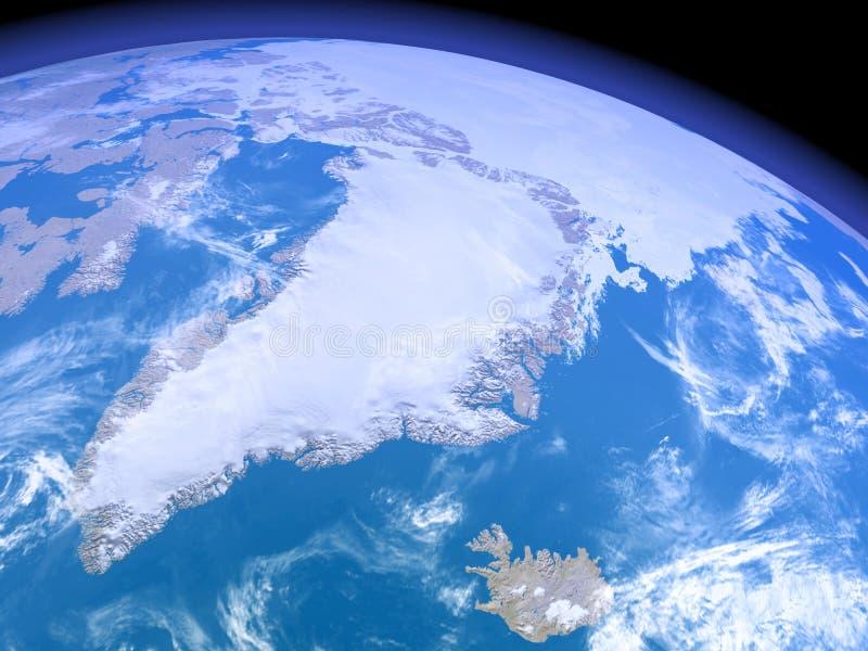 Greenland do espaço ilustração royalty free