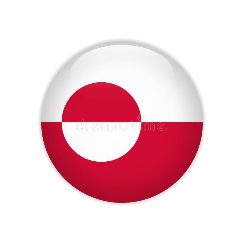 Greenland flag on button vector illustration