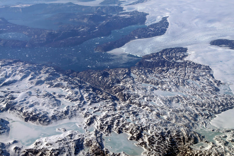 Greenland Glaciers. Glaciers in the Southern part of Greenland - Aerial view stock photography