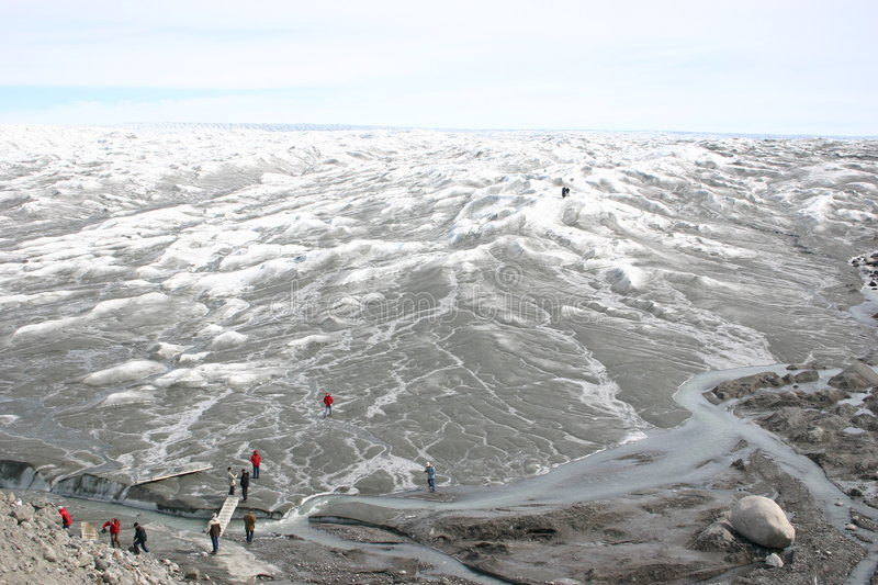 Greenland Ice Cap. View over the inland ice in Greenland near Kangerlussuaq royalty free stock image