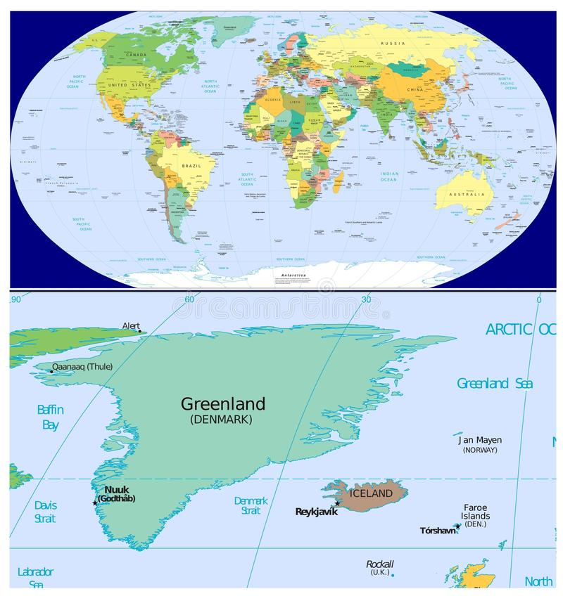 world map and close up of greenland iceland