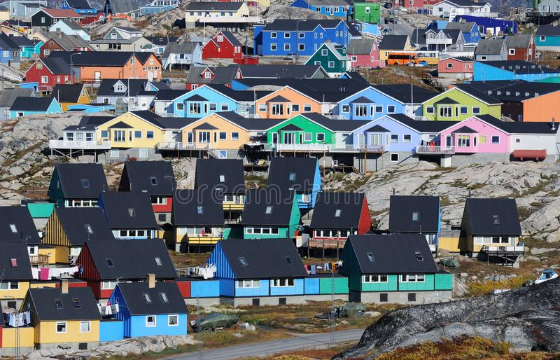 Greenland Ilulissat. The small town of Ilulissat in western Greenland stock photography