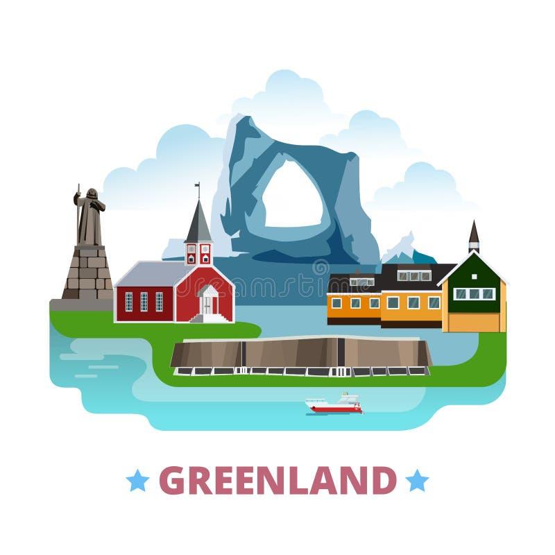 Greenland kraju projekta szablonu kreskówki Płaski sty ilustracja wektor