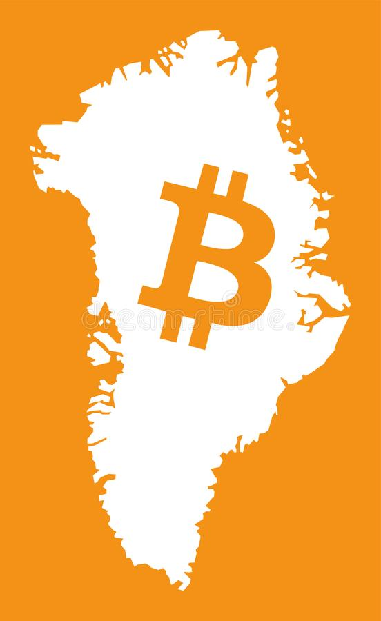 Greenland Map With Bitcoin Crypto Currency Symbol Illustration Stock