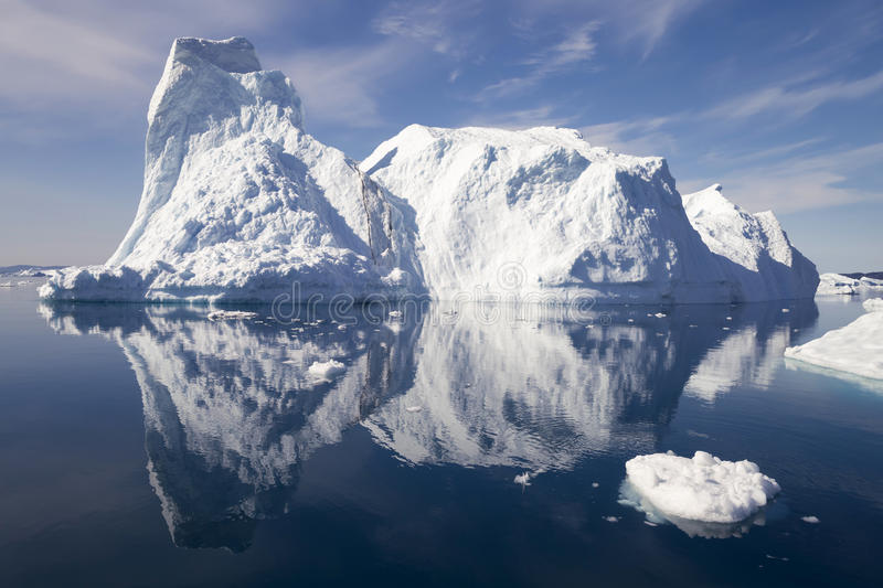 Greenland. Nature and landscapes of Greenland.Travel on the scientific vessel among ices. Studying of a phenomenon of global warming. Ices and icebergs of stock photography