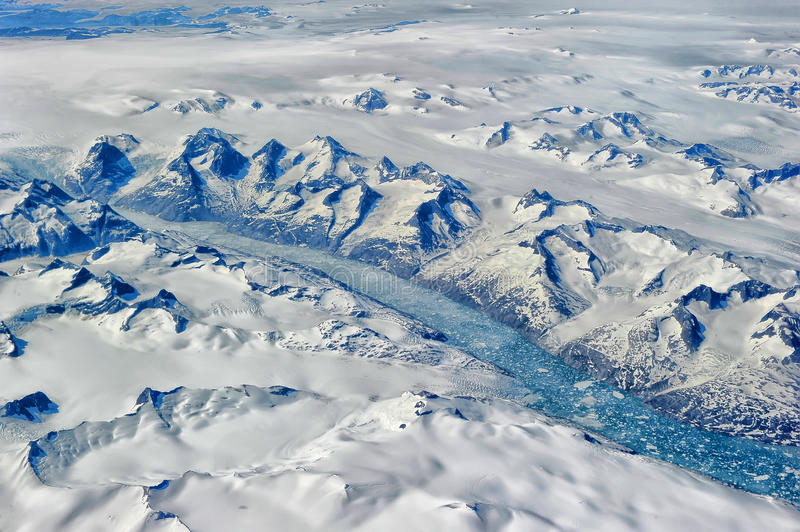 Greenland. From the plane window stock photos