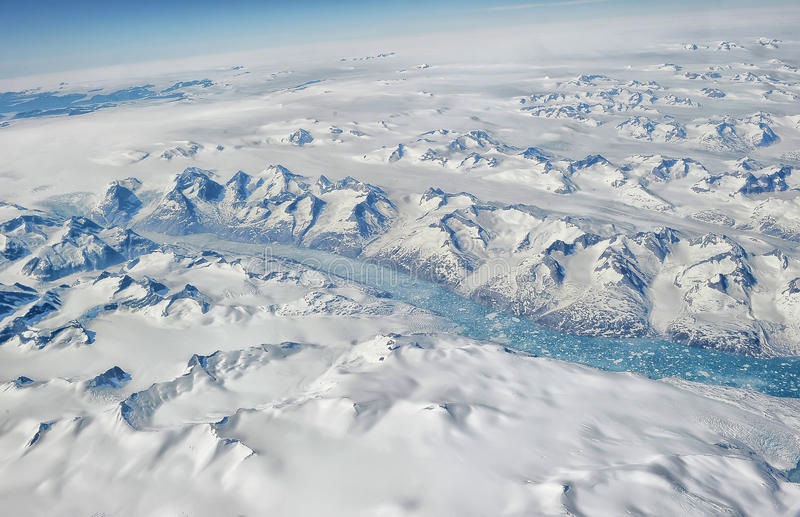 Greenland. From the plane window royalty free stock photography