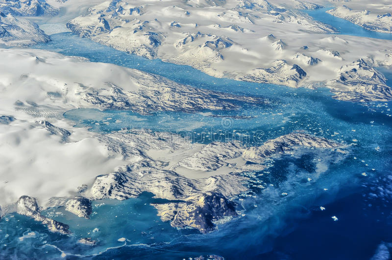 Greenland. From the plane window stock image
