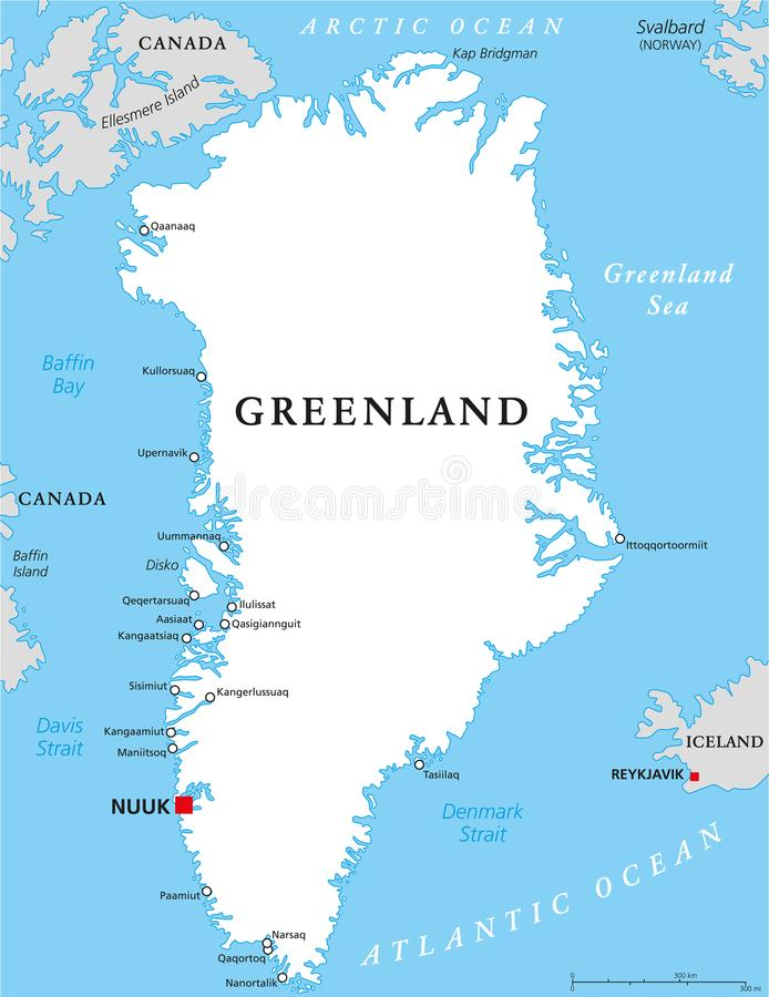 Greenland Political Map stock vector Illustration of godthab