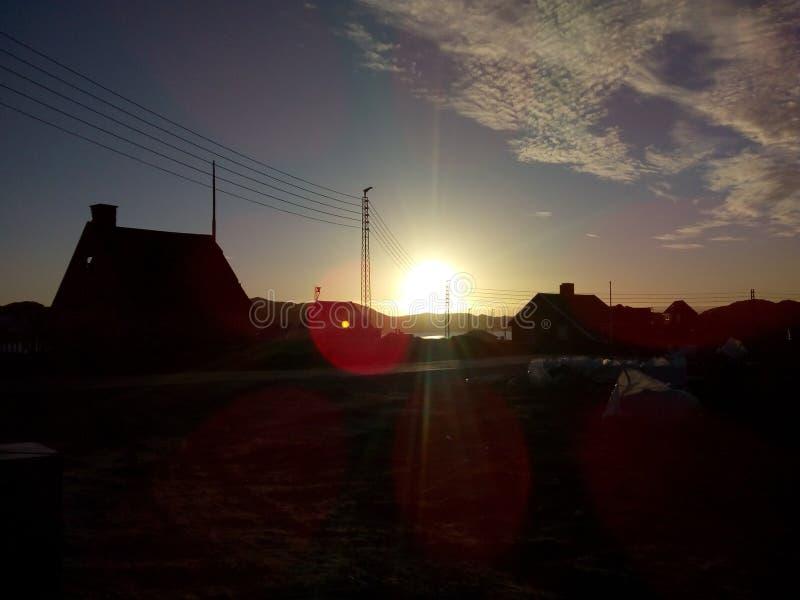 Greenland. Qeqertarsuaatsiaat sun stock photos