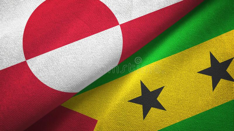 Greenland and Sao Tome and Principe two flags textile cloth, fabric texture. Greenland and Sao Tome and Principe two folded flags together vector illustration