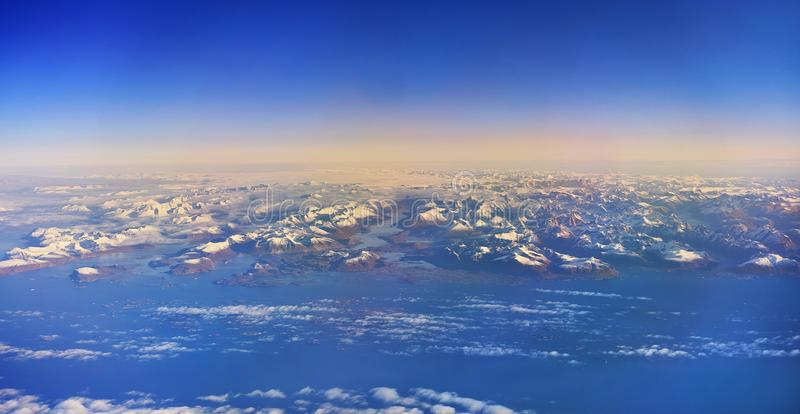 Greenland seen from a plane above stock image