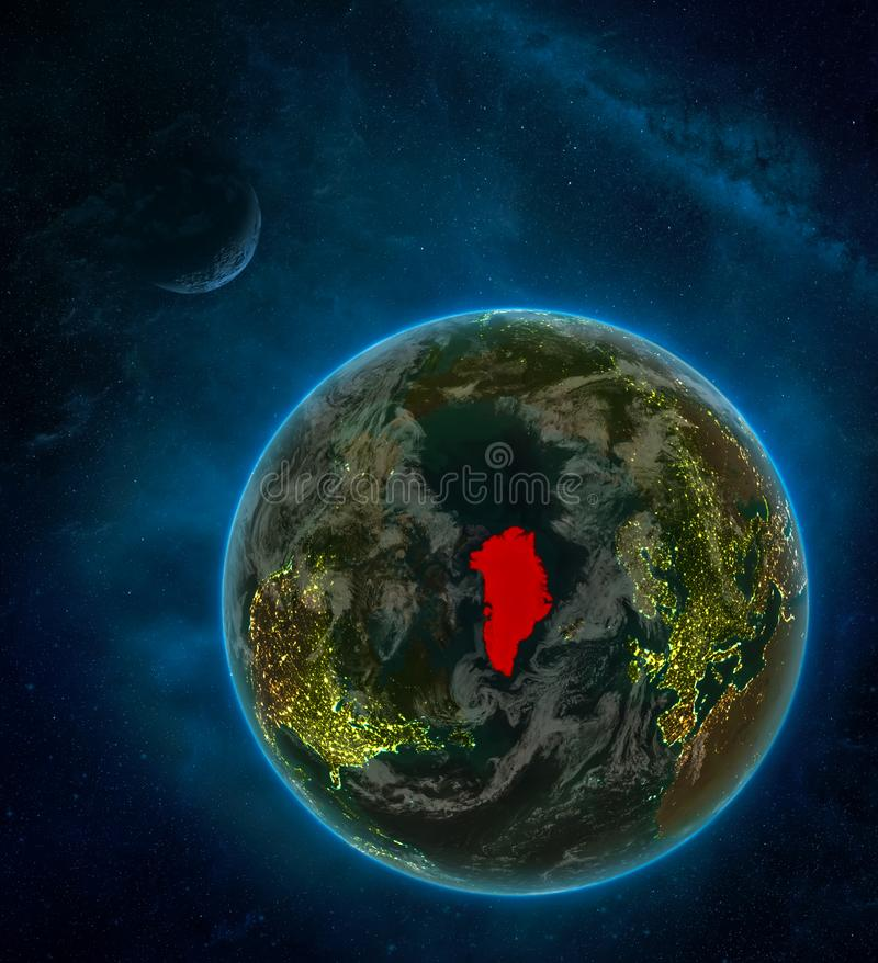 Greenland from space on Earth at night surrounded by space with Moon and Milky Way. Detailed planet with city lights and clouds. 3D illustration. Elements of stock illustration