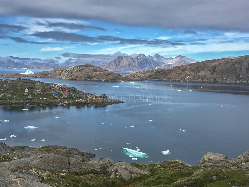 Greenland. Is the world's largest non-continental island and the third largest country in North America. It lies between latitudes 59° and 83°N, and stock photography