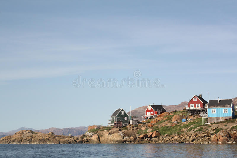 Greenlandic χωριό στοκ εικόνα