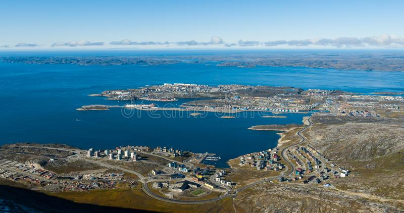 Greenlands capital Nuuk - largest city in Greenland aerial view stock images