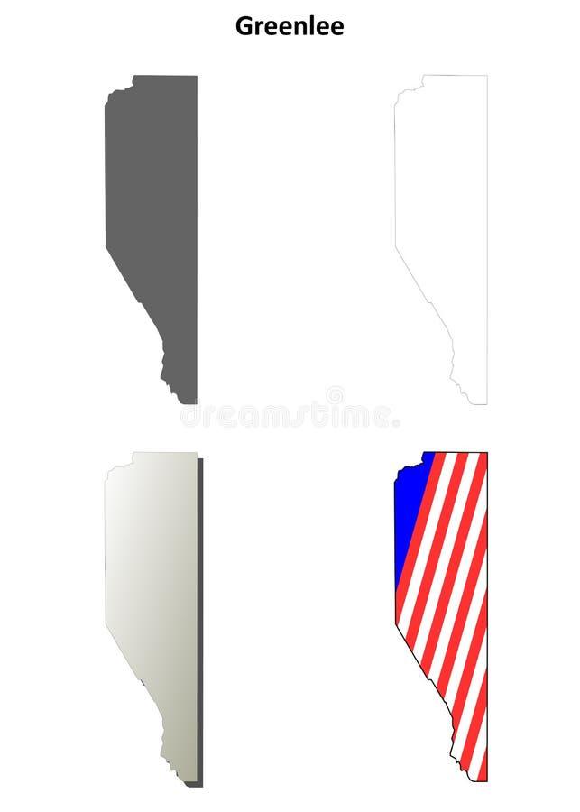 Greenlee okręg administracyjny, Arizona konturu mapy set ilustracji