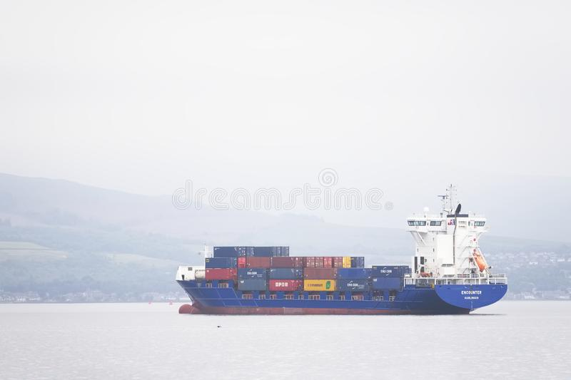 Greenock , Inverclyde / Scotland - July 12th 2019: Cargo ship vessel freight transport of containers on sea. Uk stock photo