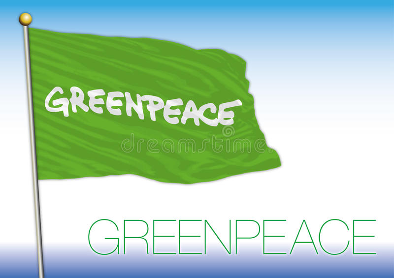 Greenpeace flagga, internationell organisation vektor illustrationer