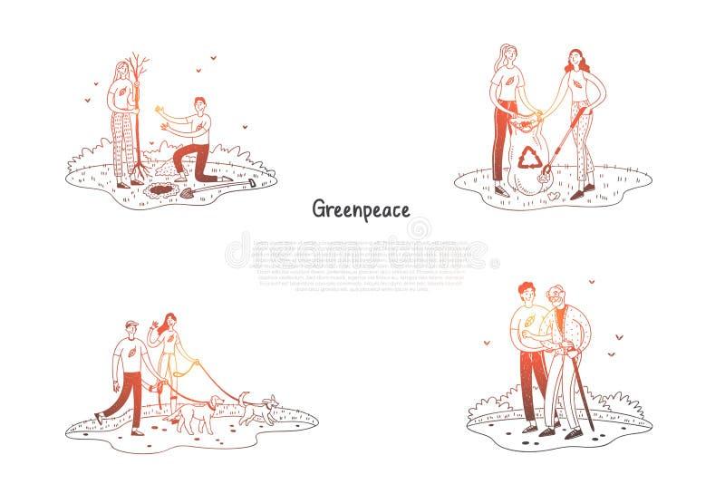 Greenpeace - Leute, die Abfall, Bäume pflanzend, helfende ältere Menschen, gehender Hundevektor-Konzeptsatz sammeln vektor abbildung