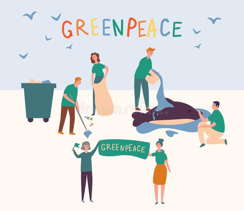 Greenpeace-Leute stellten sauberes Land-Abwehr-Tier auf Freiwillige Gruppe verhindern globale Verschmutzungs-Welt und gießen Wass vektor abbildung