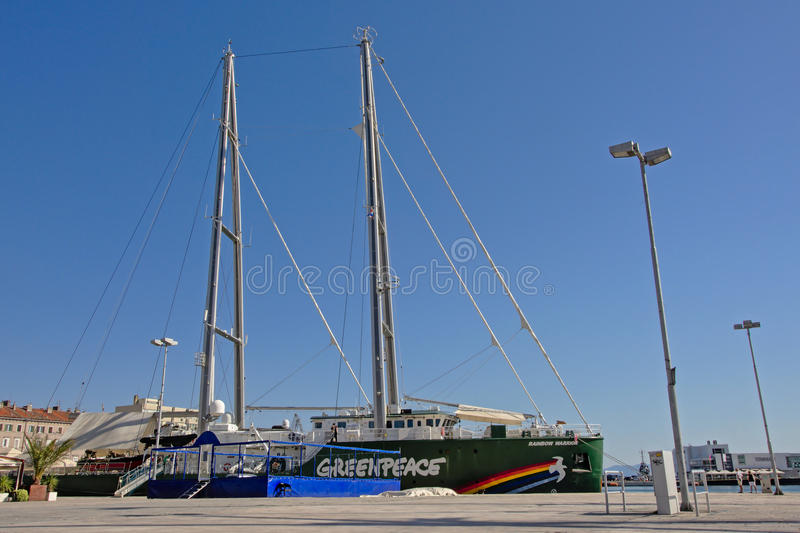 Greenpeace Rainbow warrior stock images