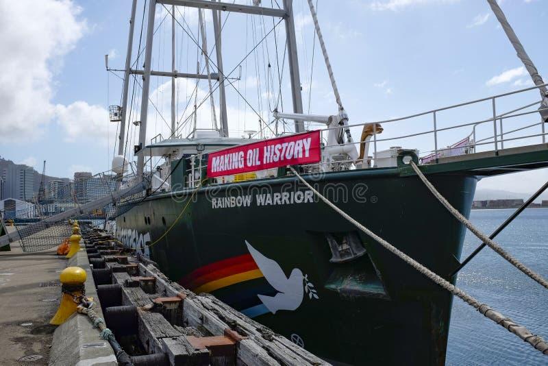 Greenpeace tęczy wojownik III w Wellington schronieniu 26th 2018 Wrzesień zdjęcia royalty free