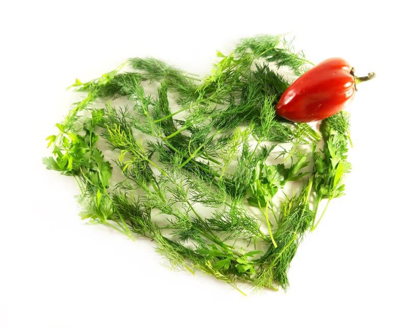 Greens hart, ecologie, voedsel, dille Symboolliefde Geïsoleerd groen voorwerp voor ontwerp, witte achtergrond stock fotografie