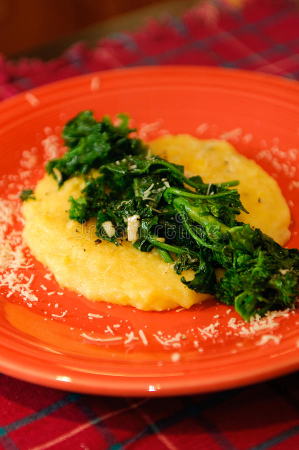 Greens and Soft Polenta royalty free stock images