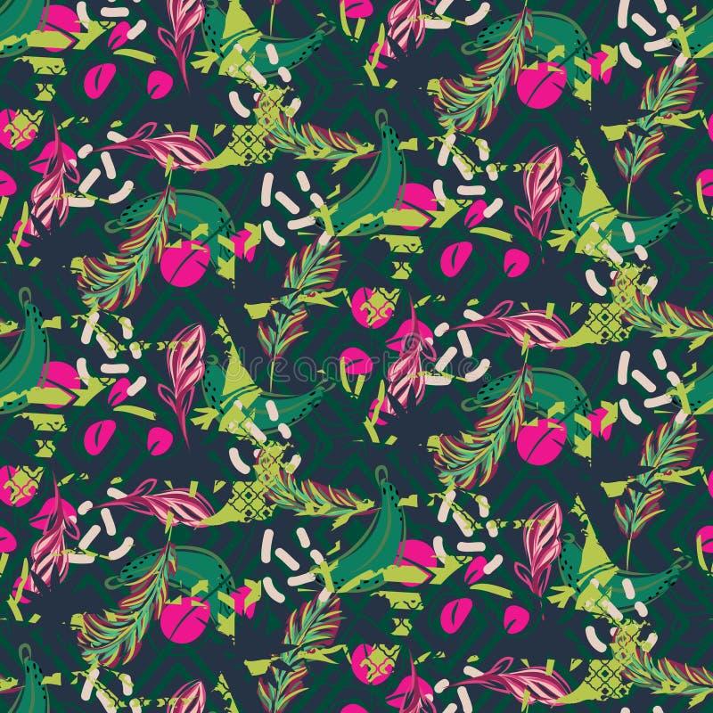 Greens van de fusie exotisch wildernis sappig tropisch palmpatroon Het naadloze vectorbehang van de aard geometrische achtergrond stock illustratie