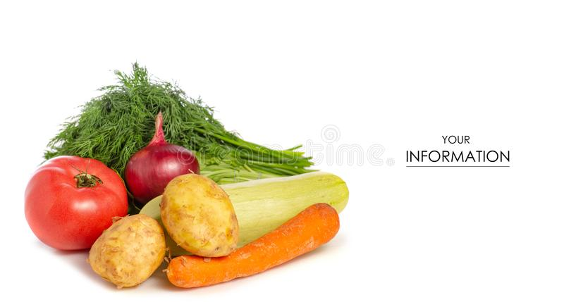 Greens vegetables zucchini tomato potatoes pattern stock photo