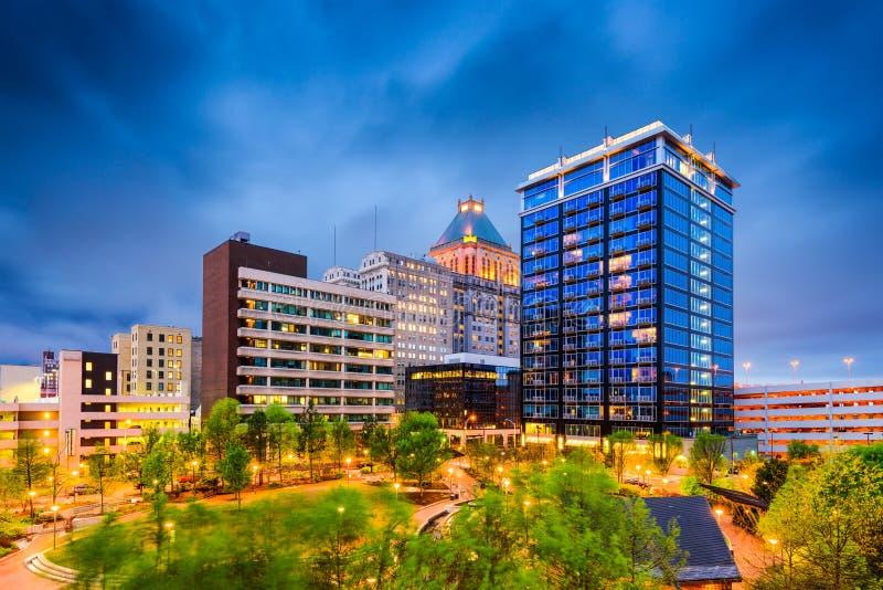 Greensboro, North Carolina. USA downtown city park and skyline royalty free stock image
