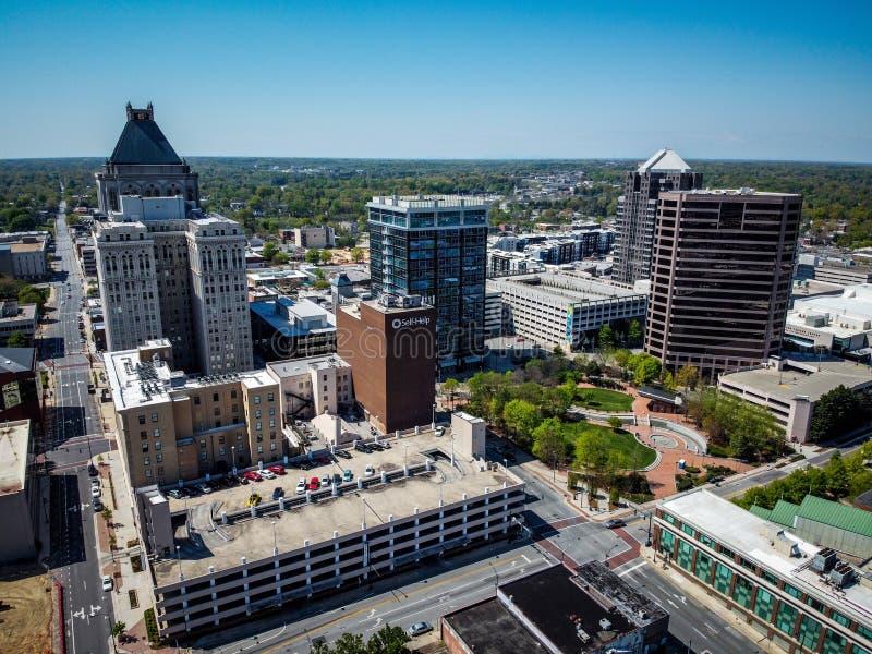 GREENSBORO, UNITED STATES - Apr 02, 2020: Above Greensboro on sunny day. GREENSBORO, UNITED STATES - Apr 02, 2020: Above Greensboro City skyline on sunny day royalty free stock photo