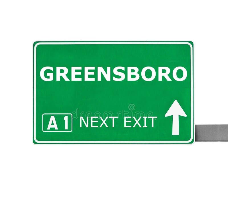 GREENSBORO-Verkehrsschild lokalisiert auf Weiß lizenzfreies stockfoto