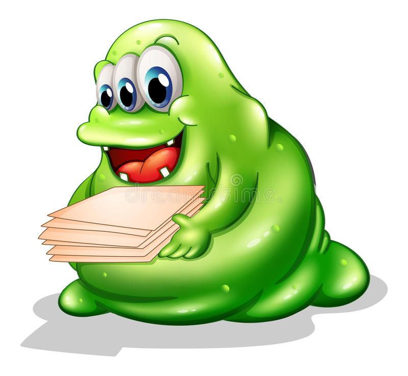 A greenslime monster having a new job vector illustration