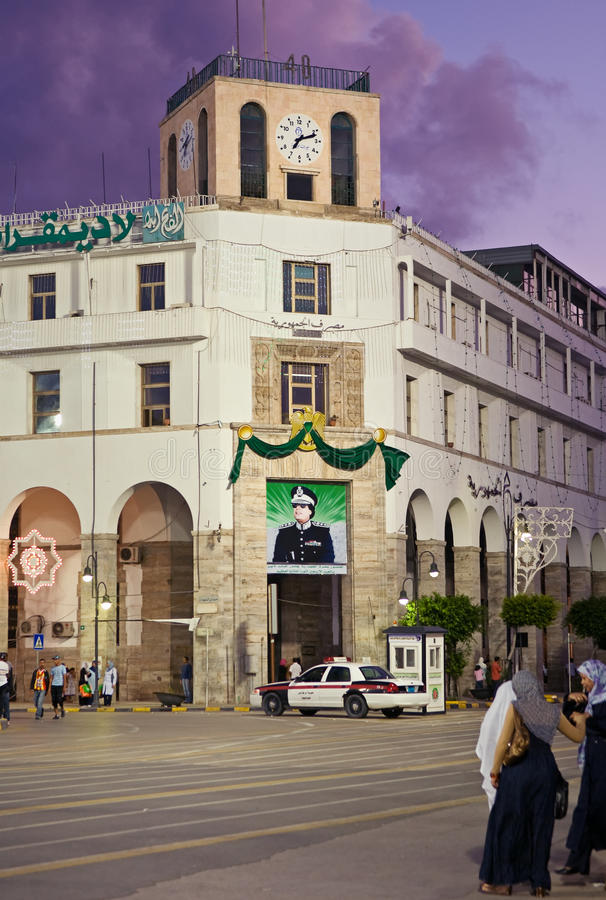 Greensquare in Tripoli, Libya. Greensquare in Tripoli by night, Libya stock images