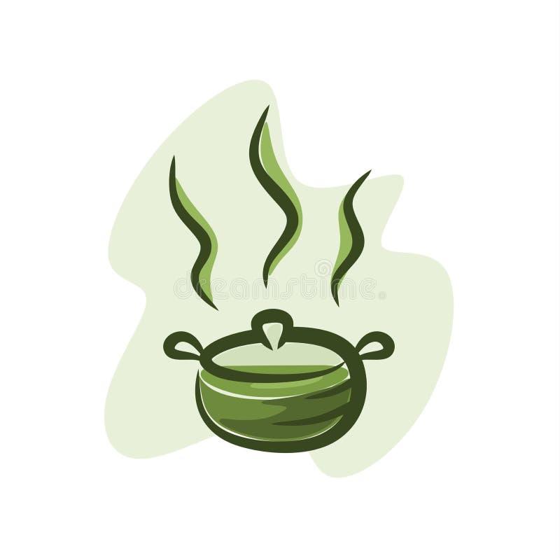 Greentea w gorącym garnku royalty ilustracja