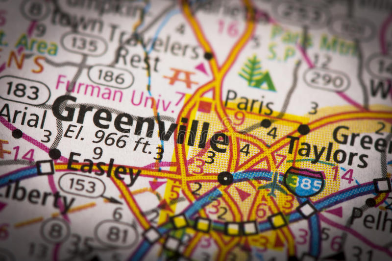 Greenville, Южная Каролина на карте стоковые изображения