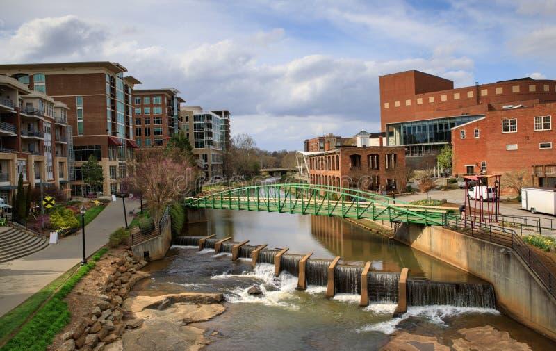 Greenville Carolina Reedy River Bridge sul imagem de stock