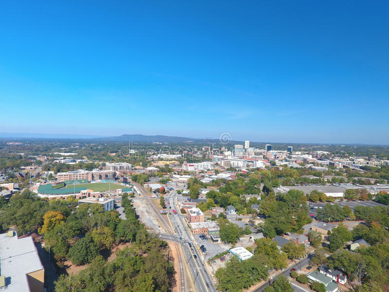 Greenville Carolina Skyline Aerial sul fotos de stock