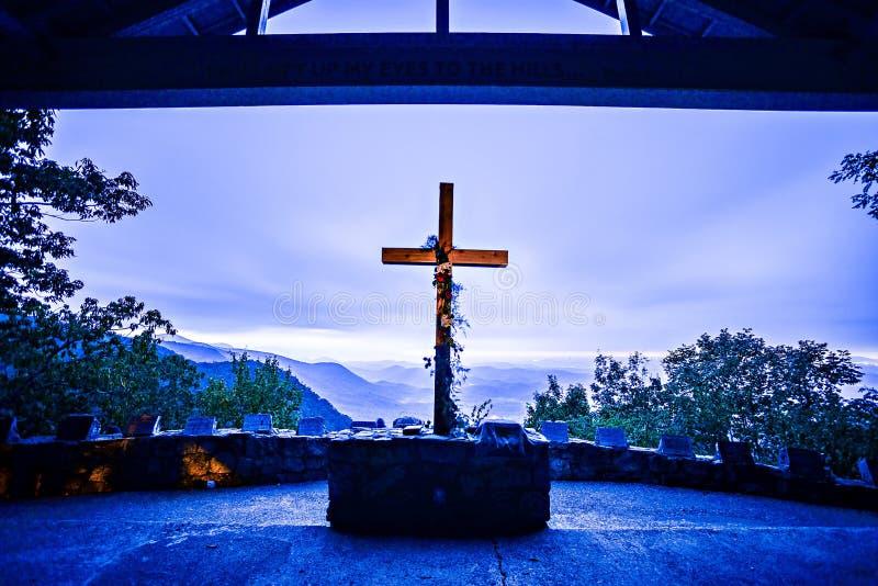 GREENVILLE COUNTY SC - Oktober 15, 2016 - soluppgång på det Symmes kapellet, royaltyfri fotografi