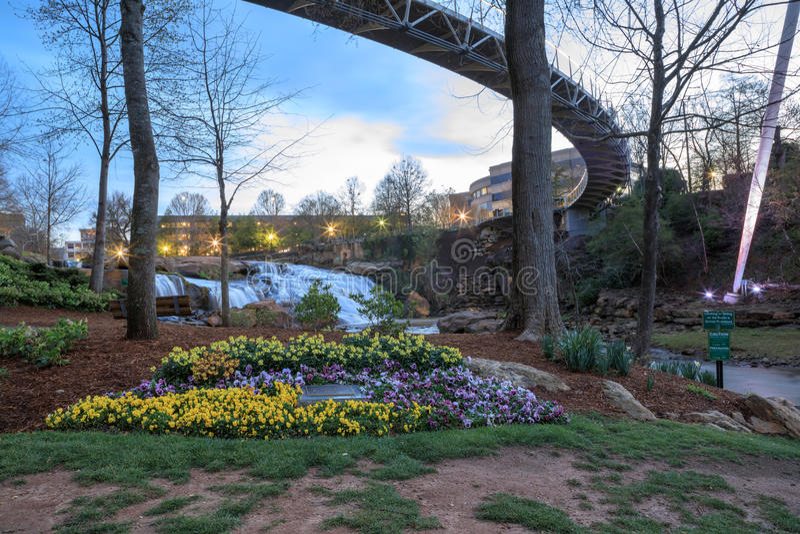 Greenville södra Carolina Falls Park på Reedy River royaltyfri bild