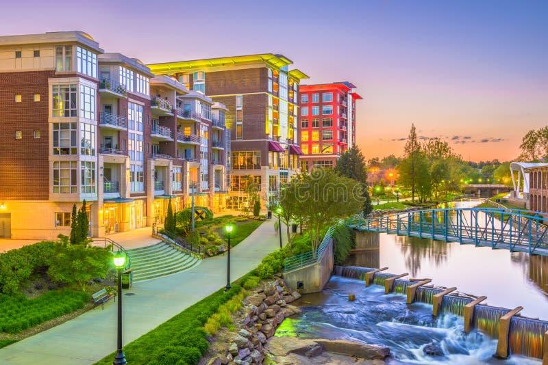 Greenville, South Carolina, arquitetura da cidade dos EUA fotografia de stock royalty free