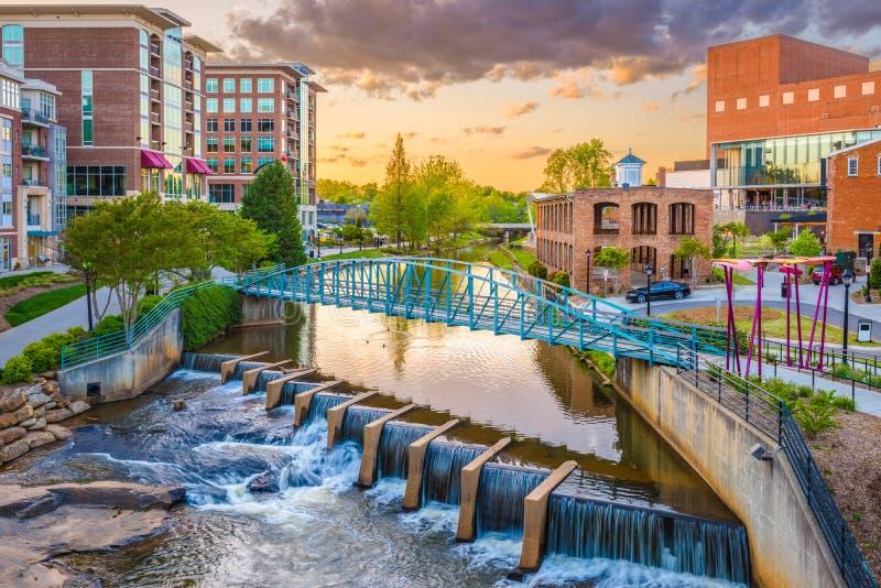 Greenville, South Carolina, arquitetura da cidade dos EUA imagem de stock